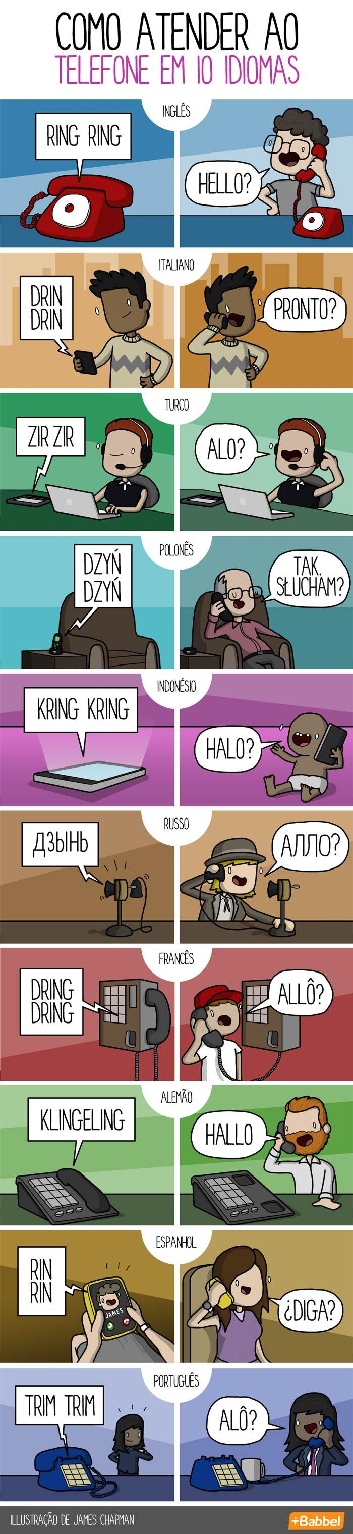 Como atender o telefone em diferentes idiomas