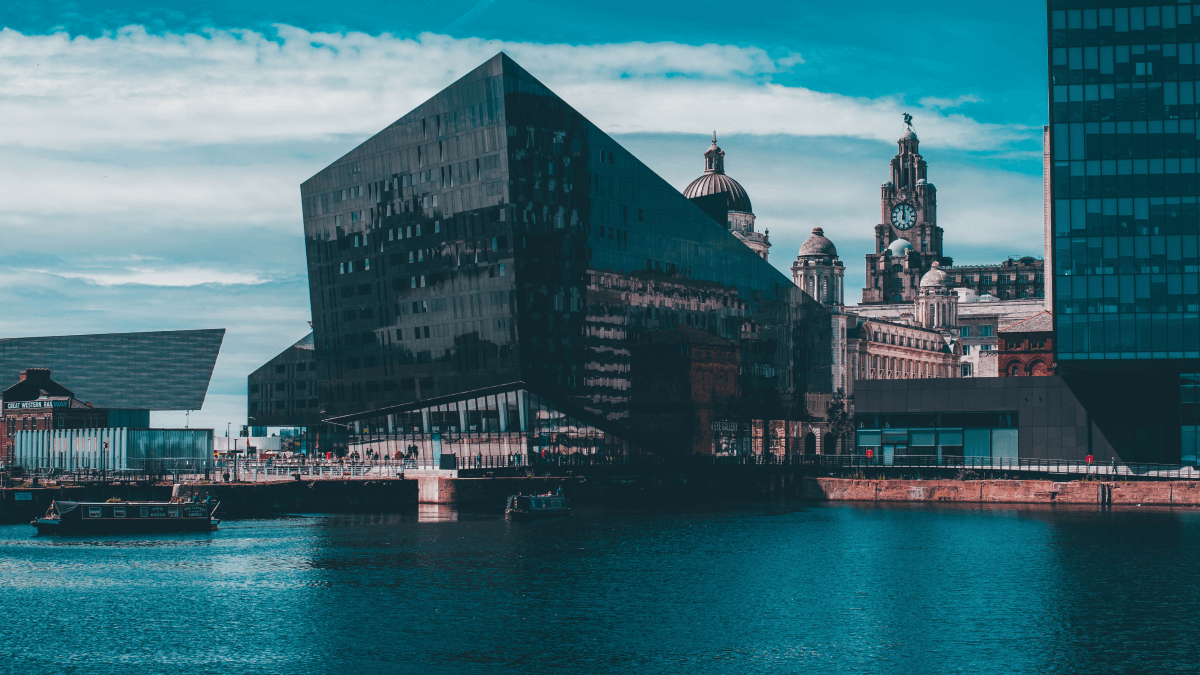 Scouse accent represented by a building on the coastline of Liverpool.