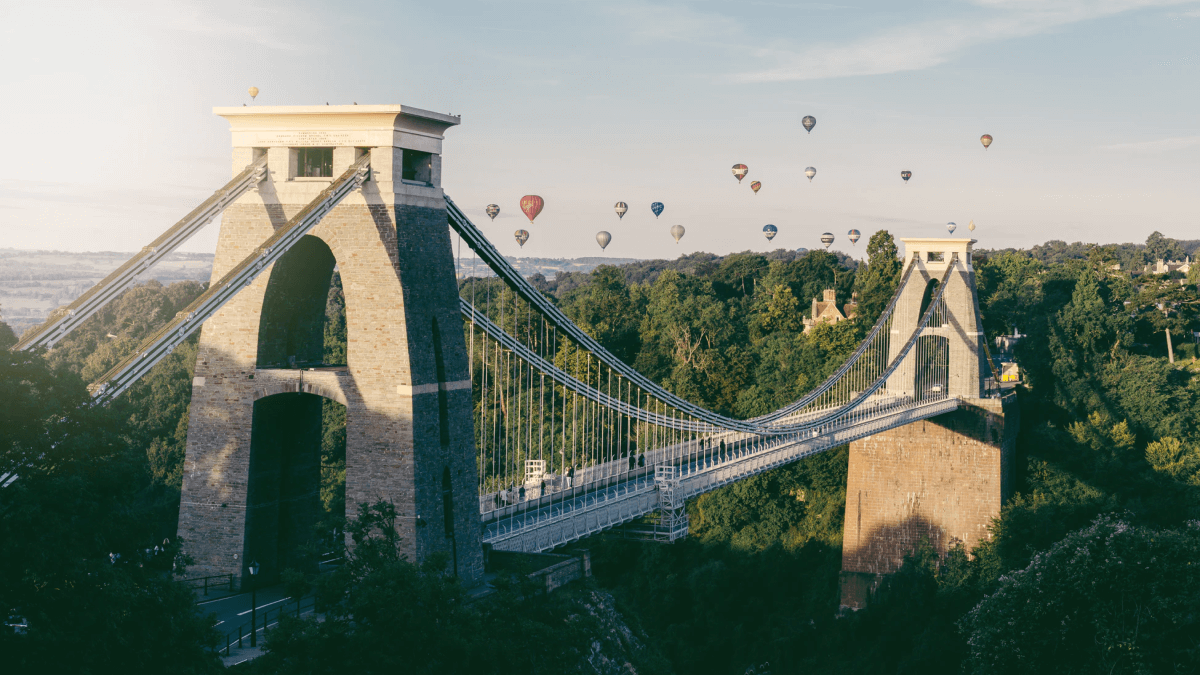 The West Country accent represented by a number of hot air balloons floating above the bridge near Bristol.