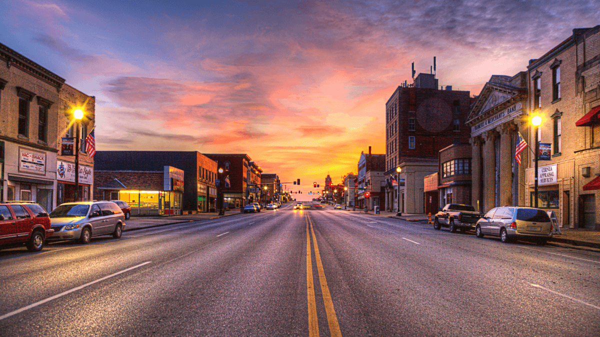 sunset view of american town with road in the middle weirdest city names