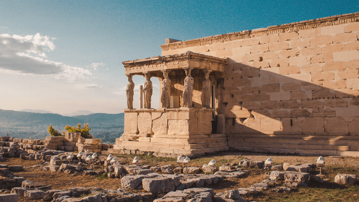 English words that are actually Greek represented by a photo of ruins in Greece