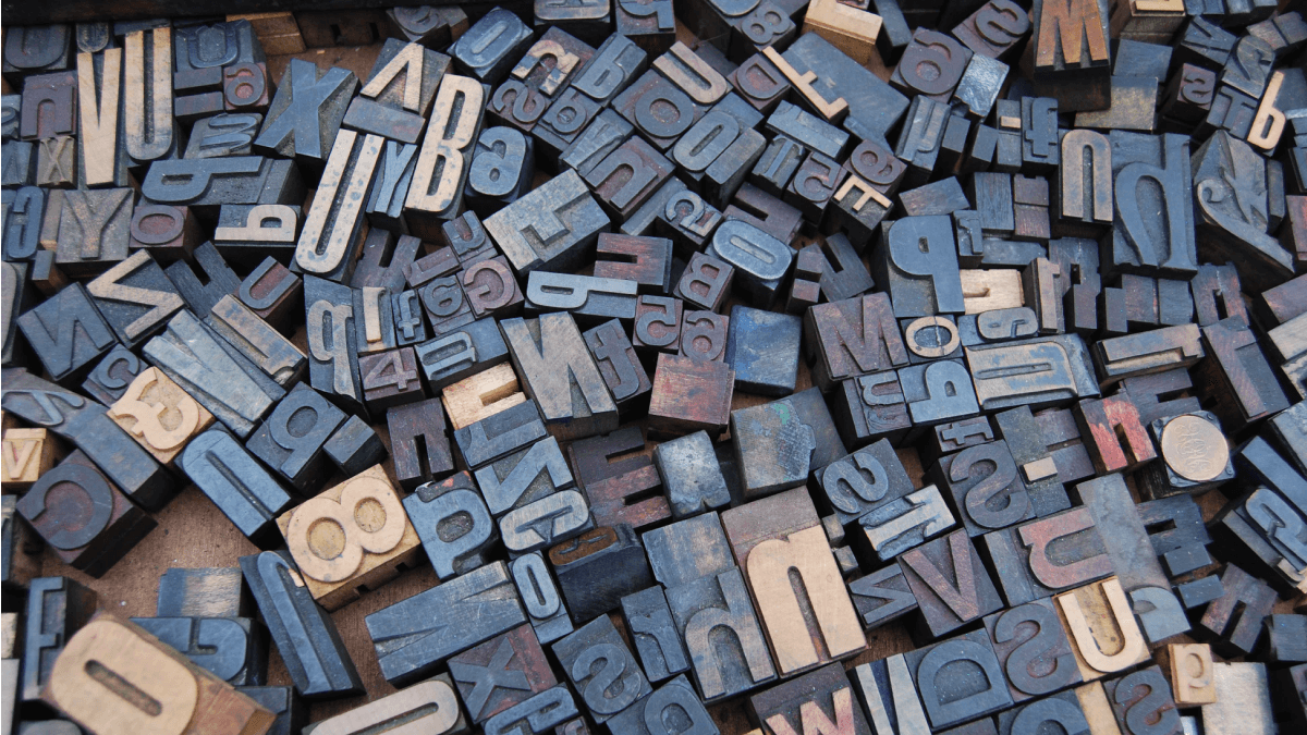 A collection of letters for typesetting to represent alphabets and writing systems