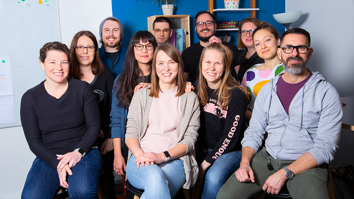Babbel's product design team gathered for a photo