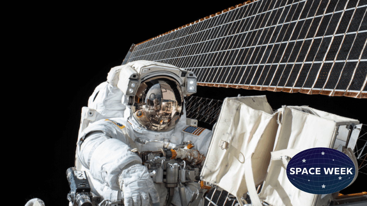 astronaut floating in space by a satellite depicting space words