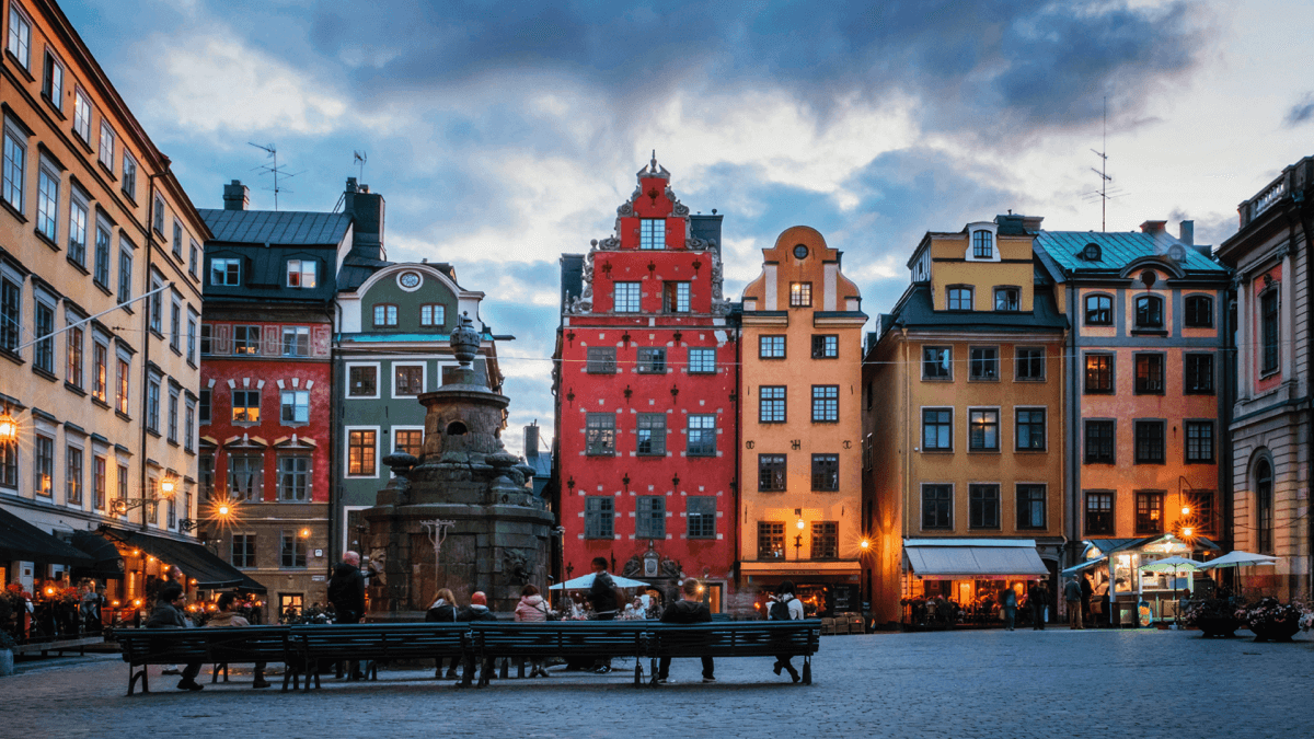 A square in Sweden on a moderately cloudy day