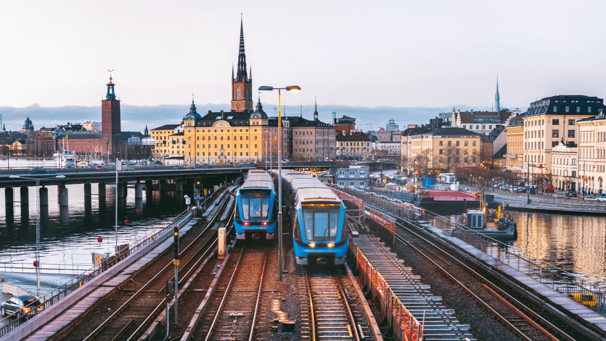 Two trams in a Swedish city