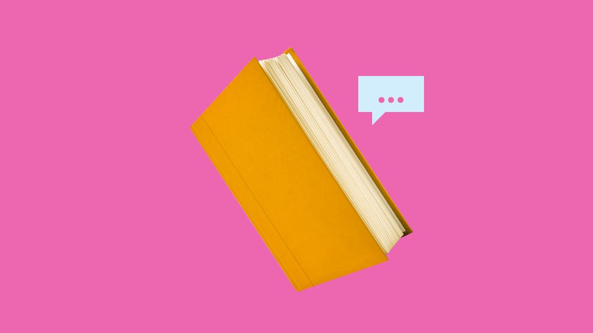 Orange Turkish books on pink background