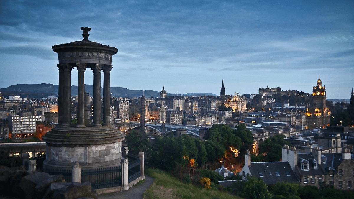 The skyling of Edinburgh, Scotland, representing the Celtic languages