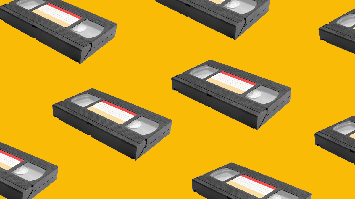 Flying VHS tapes to represent Dutch movies