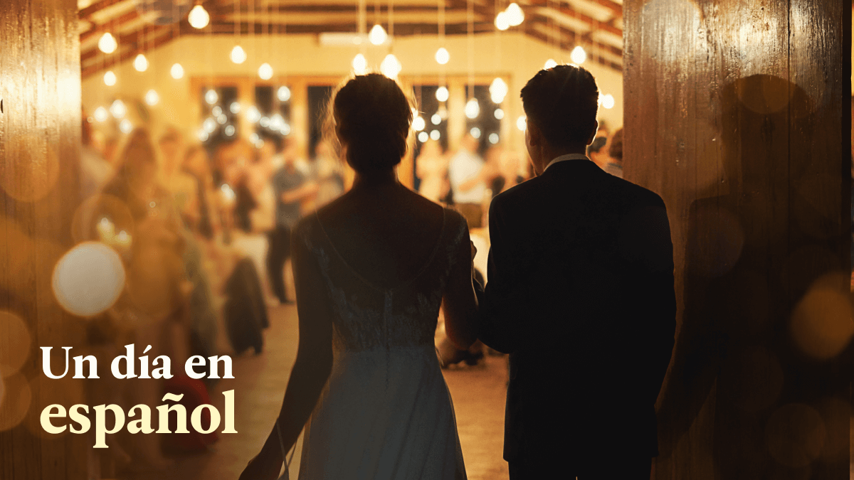 couple enters fake wedding party