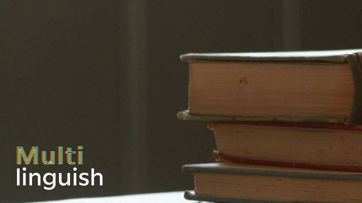 stack of books with multilinguish logo language myths