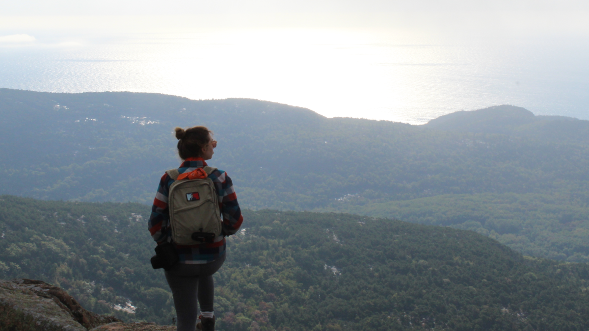 hiking Cadillac Mountain in Acadia National Park in Maine