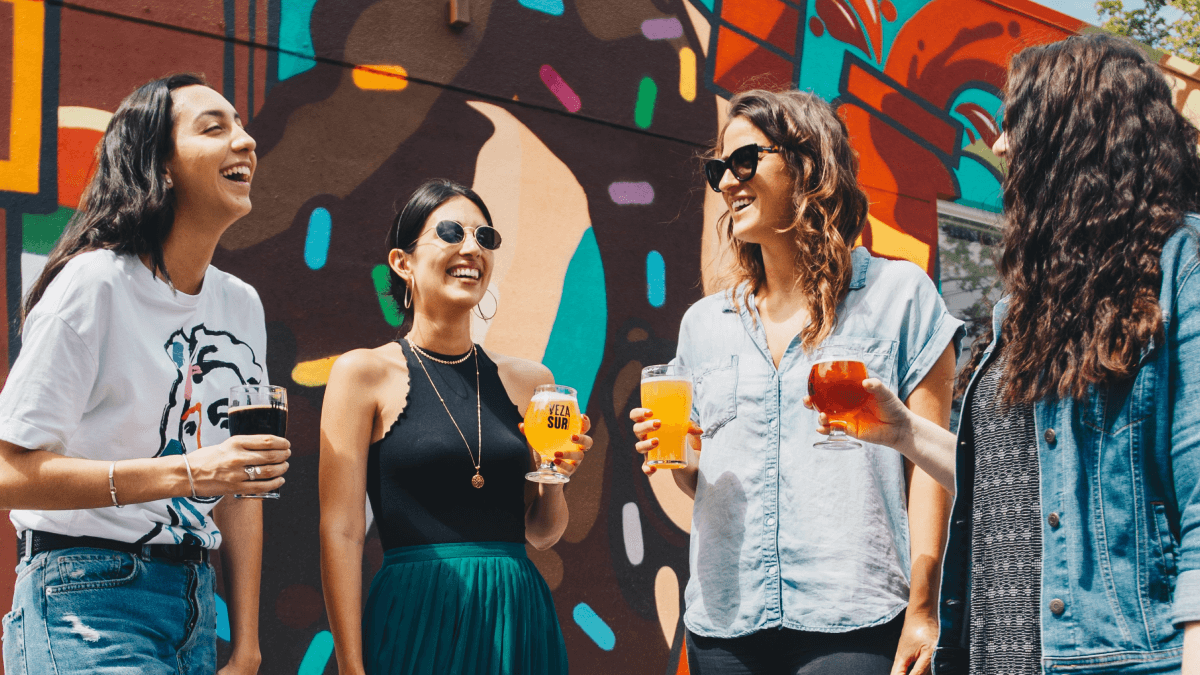 """A group of four teens learning about the uses of """"like."""" They're all drinking beer out of differently shaped glasses, and they're laughing and having fun."""