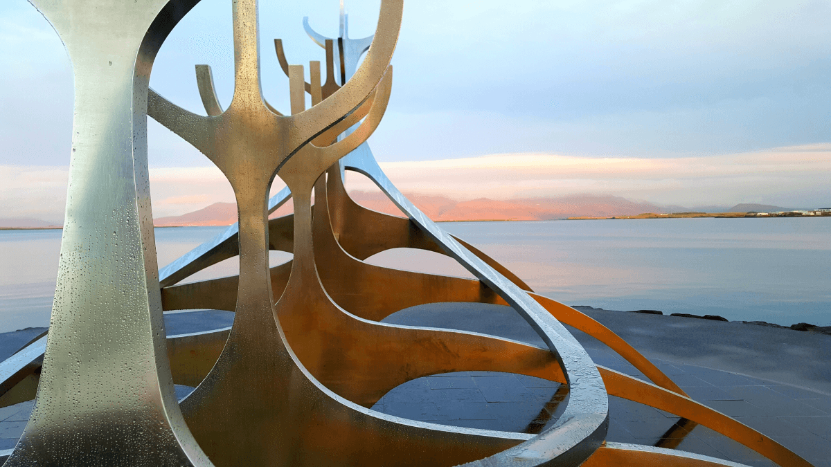 boat-shaped sculpture on the water representing literature in minority languages
