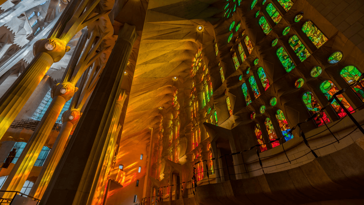 interior view of stained glass windows in the sagrada familia in barcelona catalan