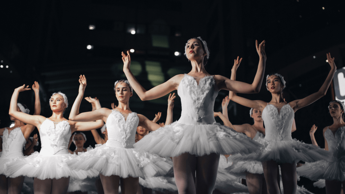 professional ballerinas in white costumes on stage ballet terms